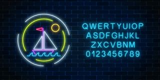 Glowing neon summer sign with sailing ship in ocean in round frames and alphabet. Shiny summertime symbol. Glowing neon summer sign with sailing ship in ocean Stock Photo