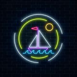 Glowing neon summer sign with sailing ship in ocean in round frames on dark brick wall background. Shiny summertime symbol. Vector illustration Stock Image