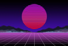 Glowing neon, synthwave and retrowave background template. Retro video games, futuristic design, rave music, 80s royalty free stock images