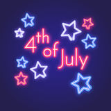Glowing neon 4th July sign board. Vector illustration with stars and inscription. Royalty Free Stock Photo
