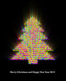 Glowing New Year Tree Abstract Background. 3d Image Royalty Free Stock Photography