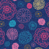 Glowing night flowers seamless pattern background Stock Image