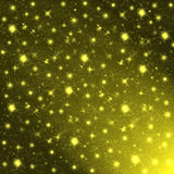 Glowing night sky with golden stars Royalty Free Stock Images