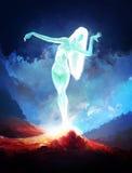 Glowing Nude Woman Stock Photo