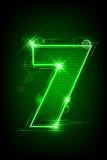 Glowing Number Seven. Illustration of glowing number seven on abstract background Royalty Free Stock Photography