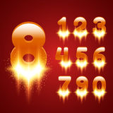 Glowing Numbers Set Stock Photo