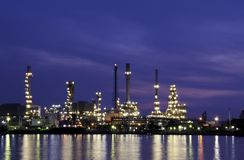 Glowing Oil Refinery Stock Photography