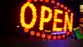 Glowing open neon display stock footage