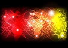 Glowing Optical Fibers. Background - Glowing Optical Fibers and World Map on Red and Yellow Background - Vector Stock Photo
