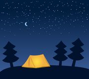 Glowing orange camping tent among fir trees at night, under clear skies with moon and stars, vector. Illustration Stock Images