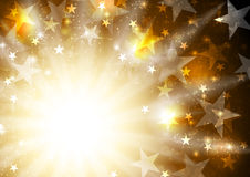 Glowing orange golden background with stars and beams stock illustration