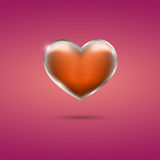 Glowing orange heart with frame on pink background. With shadow Stock Photos