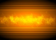 Glowing orange tech background with low poly Stock Photography