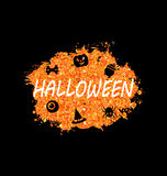 Glowing Orange Template for Happy Halloween Party. Illustration Glowing Orange Template for Happy Halloween Party. Holiday Bright Flyer- Vector Royalty Free Stock Photo