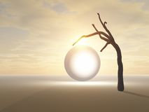 Glowing orb and lone tree. Three dimensional illustration of glowing alien orb on plain with stark lone tree; sunset background Royalty Free Stock Image