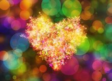 Glowing painted heart of golden stars on holiday backgrounds. Glowing painted heart of golden stars on holiday background royalty free illustration
