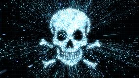 Glowing skull and crossbones illustration being in particle explosion with motion blur Stock Illustration