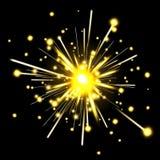 Glowing party sparkler. Firework for holiday, sparkler fire, celebration spark, vector illustration Stock Image