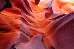 Glowing passage in lower Antelope canyon Stock Images