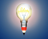 Glowing pencil light bulb with the word idea Stock Photo
