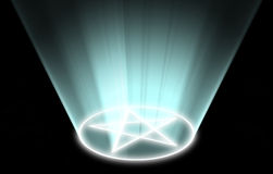 Glowing pentacle magical symbol site Royalty Free Stock Photography