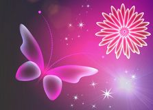 Glowing pink background with magic butterflies.Transparent butterfly and glowing flower. Glowing purple background with magic butterflies and light flowers vector illustration