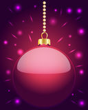 Glowing pink Christmas bauble hanging on beads Stock Image