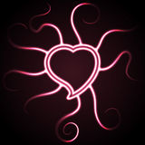 Glowing pink heart shape Stock Images