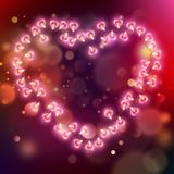 Glowing pink hearts background. EPS 10 vector Royalty Free Stock Photography