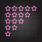 Glowing pink neon lights 5 stars rating. Vector illustration of glowing pink neon lights 5 stars rating on dark transparent background.  objects, easy to change Royalty Free Stock Photos
