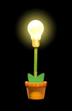 Glowing plant in pot Royalty Free Stock Photos