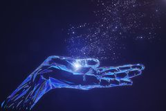 Glowing polygonal hand on blue background. Abstract glowing polygonal hand on blue background. Cyberspace and artificial intelligence concept. 3D Rendering Stock Image