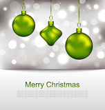 Glowing Postcard with Christmas Balls Stock Photos