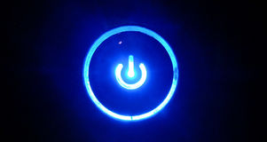 Glowing Power Button Stock Photo