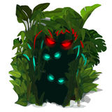 Glowing predators eyes of jungle. Vector  Royalty Free Stock Image