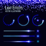 Glowing preloaders and progress bars vector set Stock Photo