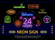 Glowing Promotional Neon Signs Template Royalty Free Stock Photos