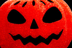 Glowing Pumpkin Face Stock Photography