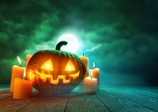 Glowing Pumpkin On Halloween Royalty Free Stock Photography