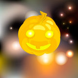 Glowing pumpkin Halloween. Surrounded by fireflies Stock Images