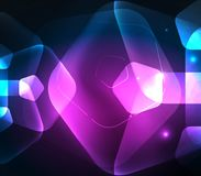 Glowing glass transparent pentagans, geometric abstract digital background Stock Image