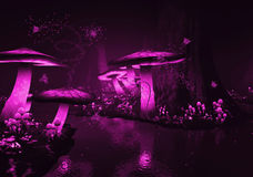 Glowing Purple  Mushrooms. A magical fairy tale world with purple glowing mushrooms and fireflies. A world that invites you to dream Royalty Free Stock Image