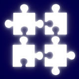 Glowing Puzzle Solution Stock Photo
