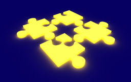 Glowing Puzzle Solution Stock Photography
