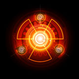 Glowing Radioactive sign. Glowing techno Radioactive sign on the dark background Royalty Free Stock Photos