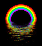 Glowing rainbow over water night scene. Rainbow glow in dark with colorful water reflection at night. Beautiful dream scene Stock Image