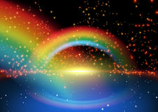 Glowing Rainbow and Starry Background vector illustration