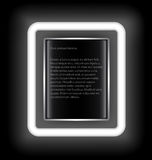 Glowing rectangular frame with space for text on a black background. Stock Image