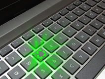 Glowing recycle button on computer keyboard Royalty Free Stock Images