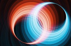 Glowing red and blue rings. 3d render. Abstract digital background. Glowing red and blue rings. 3d render illustration Stock Photos
